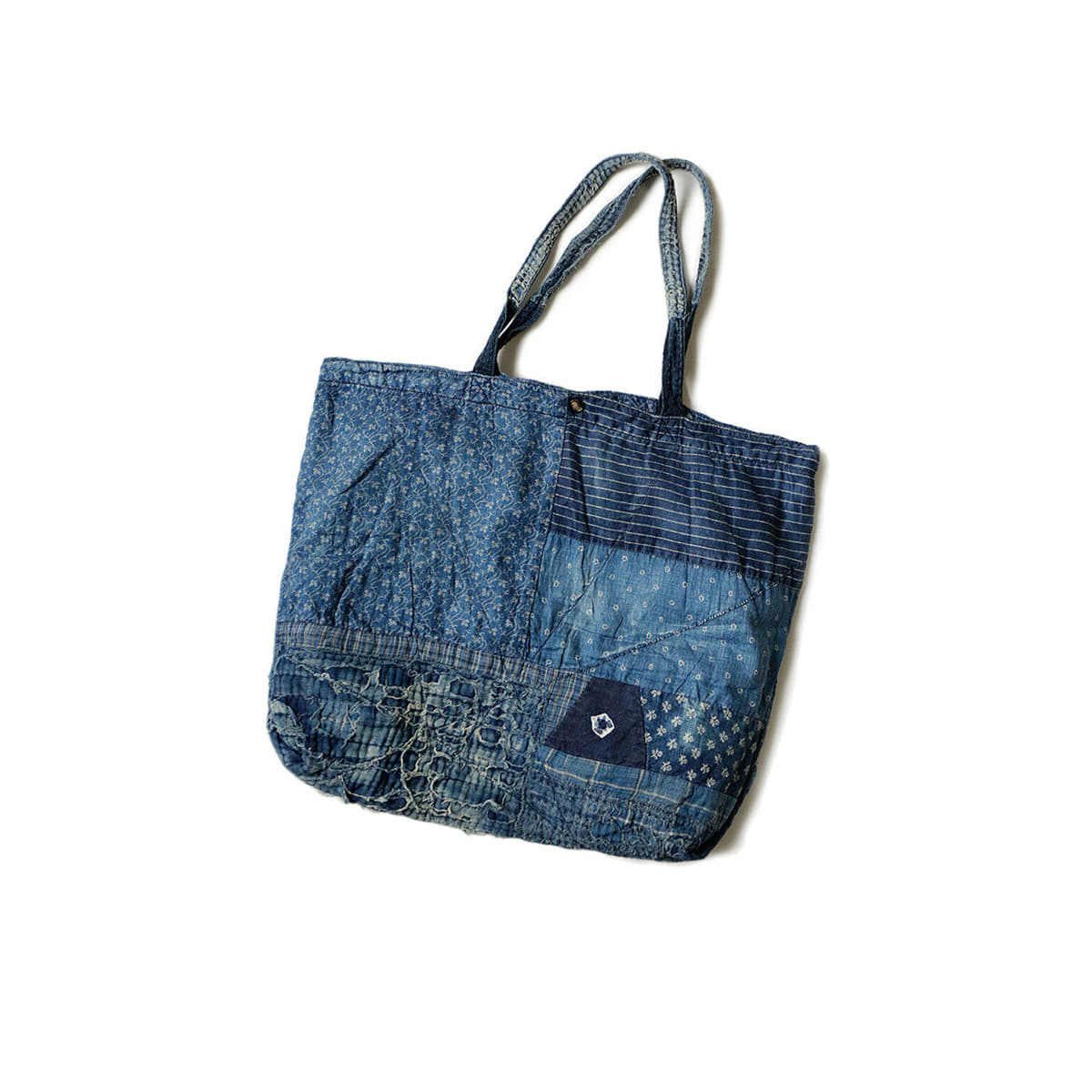 [KAPITAL] DENIM PATCHWORK TOTE BAG LARGE 'INDGO'
