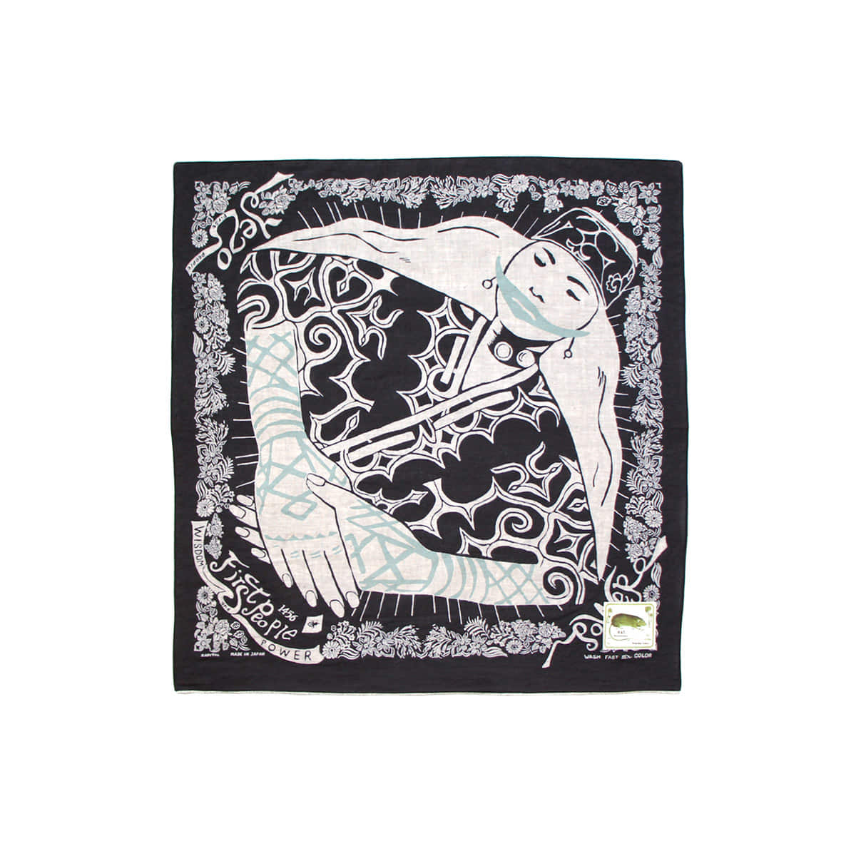 [KAPITAL] FAST COLOR SELVEDGE BANDANA (AINU WOMAN) 'BLACK'