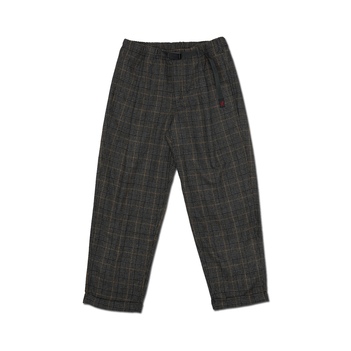 [GRAMICCI] WOOL BLEND TUCK TAPERED PANTS 'GLEN CHECK GREY'