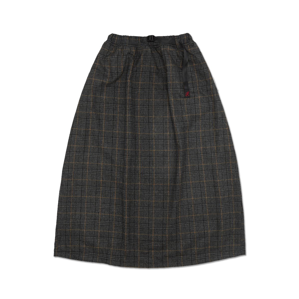 [GRAMICCI] WOOL BLEND LONG FLARE SKIRT 'CHECK GREY'