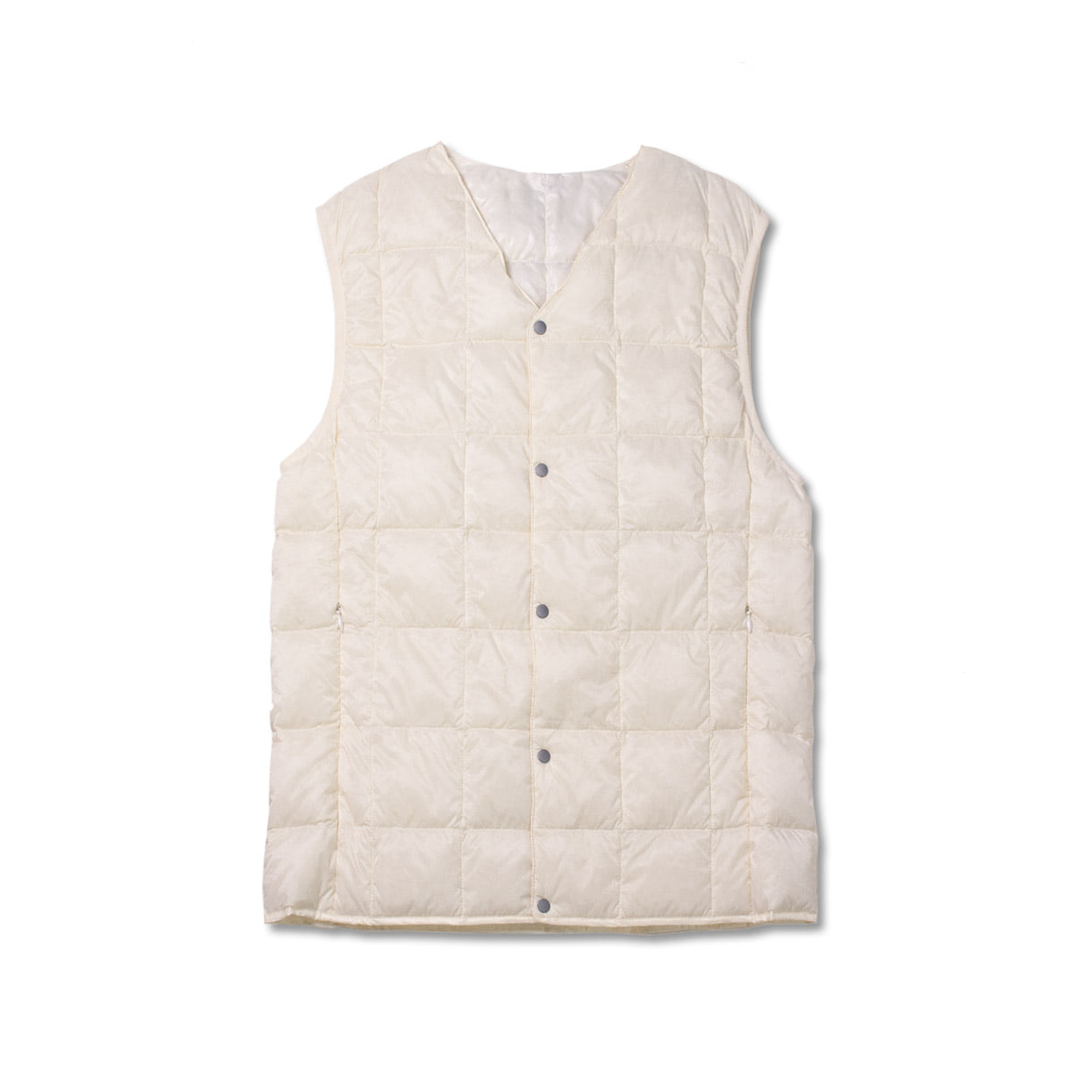 [TAION]  V NECK BUTTON DOWN VEST (TAION-001) 'WHITE'