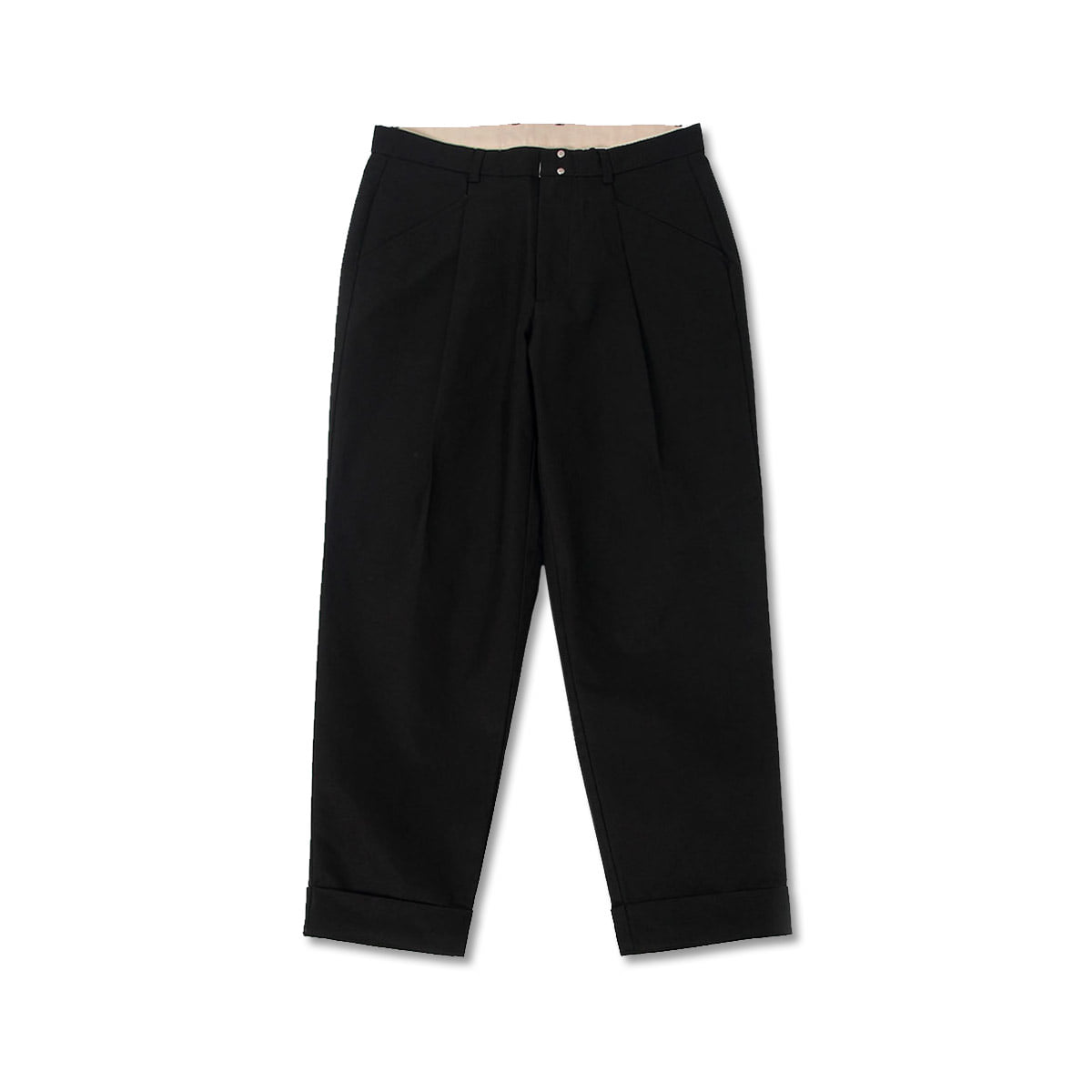 [BEHEAVYER] STANDARD TUCK PANTS 'BLACK'