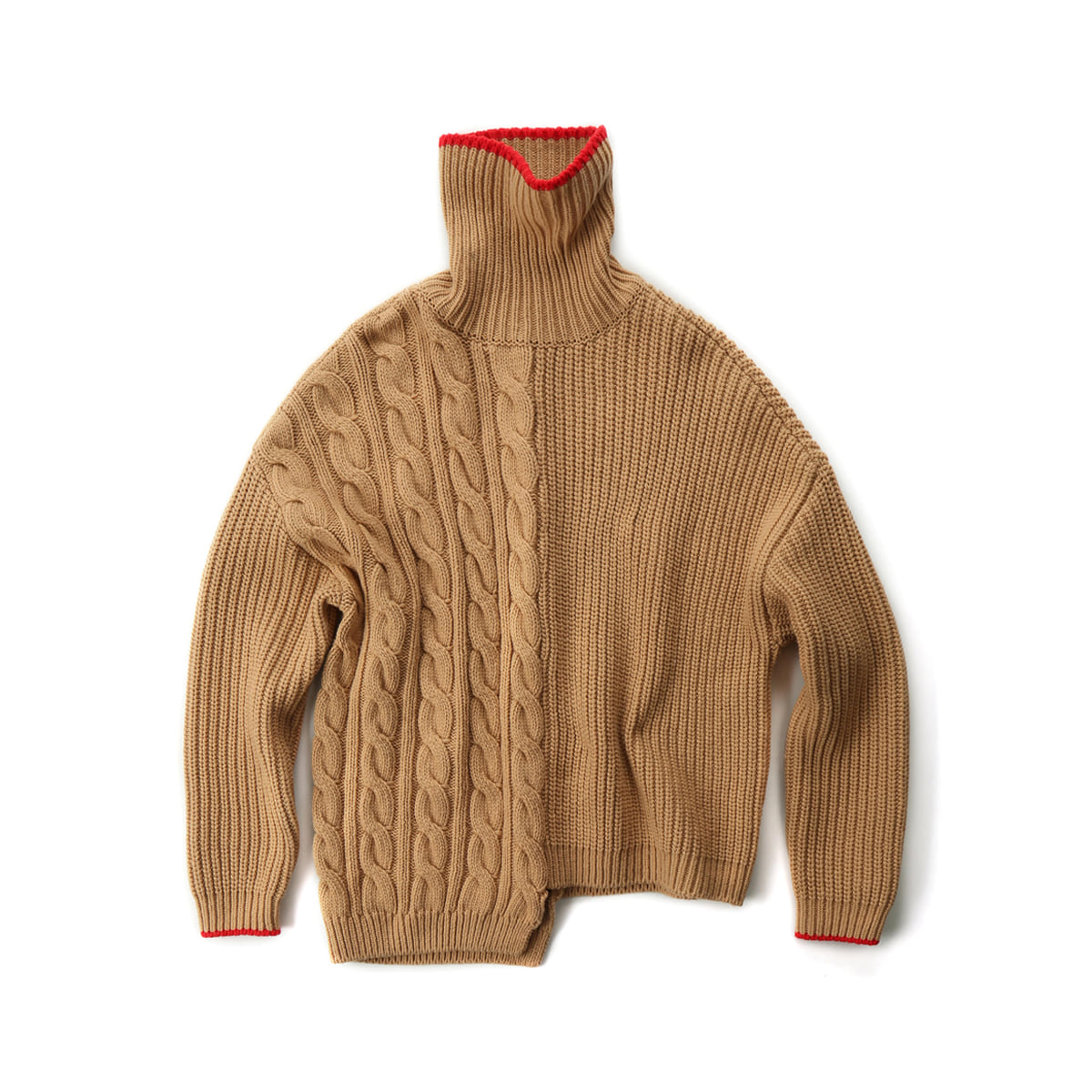 [MUSED] TRES UNBALANCED TURTLENECK SWEATER 'CAMEL/RED'