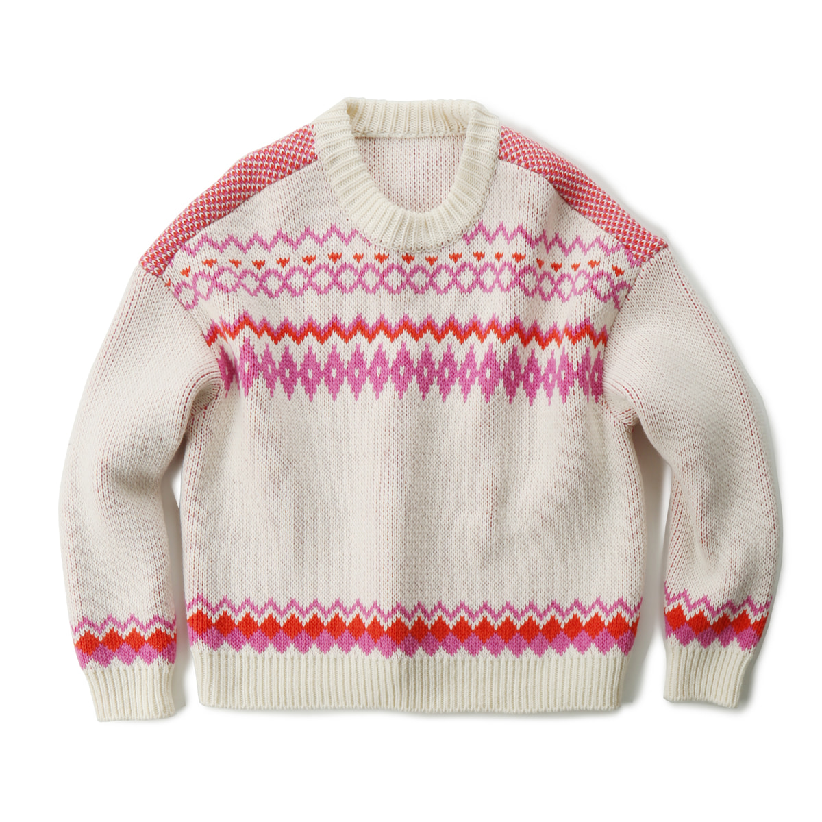 [MUSED] NILLA FAIRISLE PULLOVER KNIT 'IVORY/PINK'