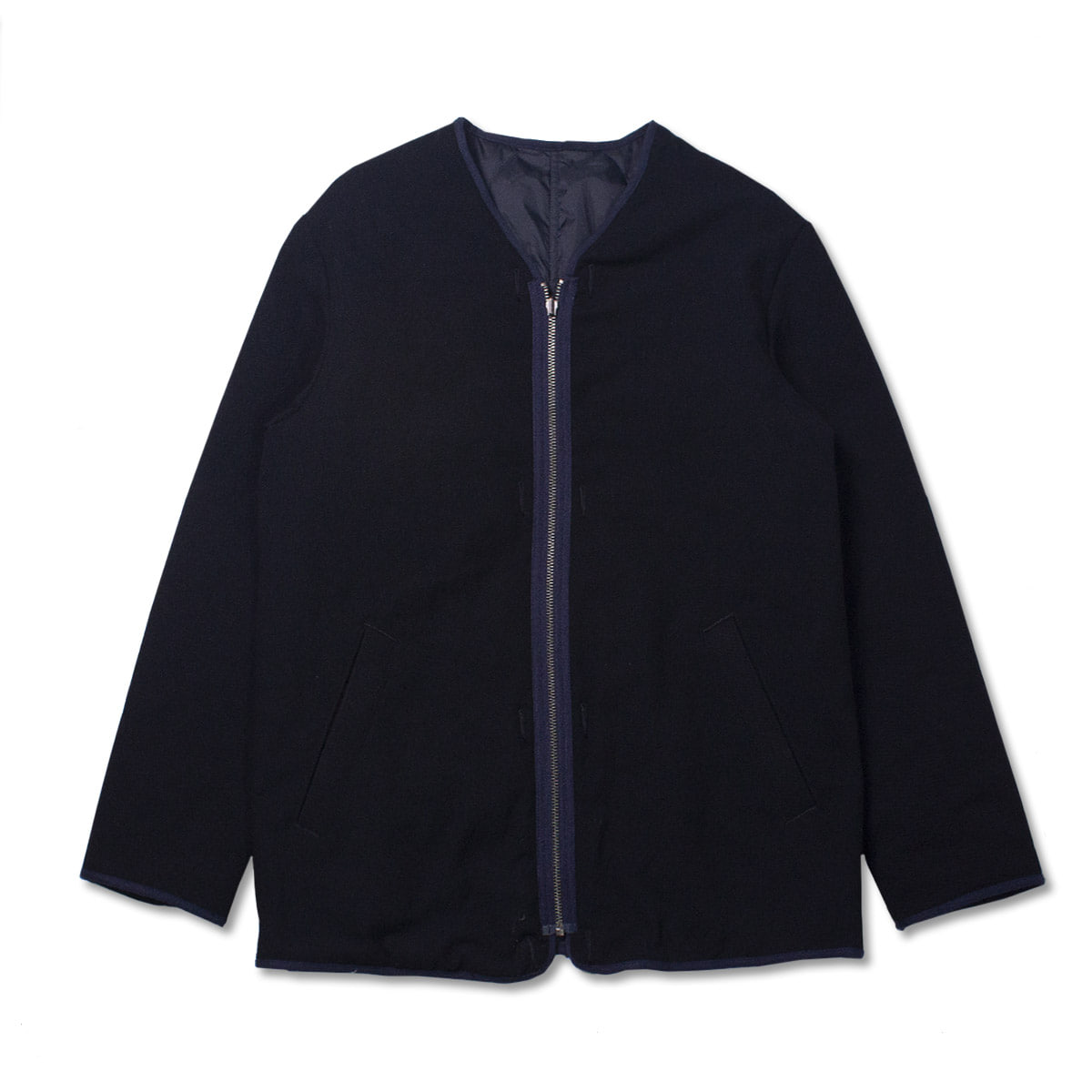 [SAGE DE CRET] REVERSIBLE NO COLLAR JACKET 'NAVY'
