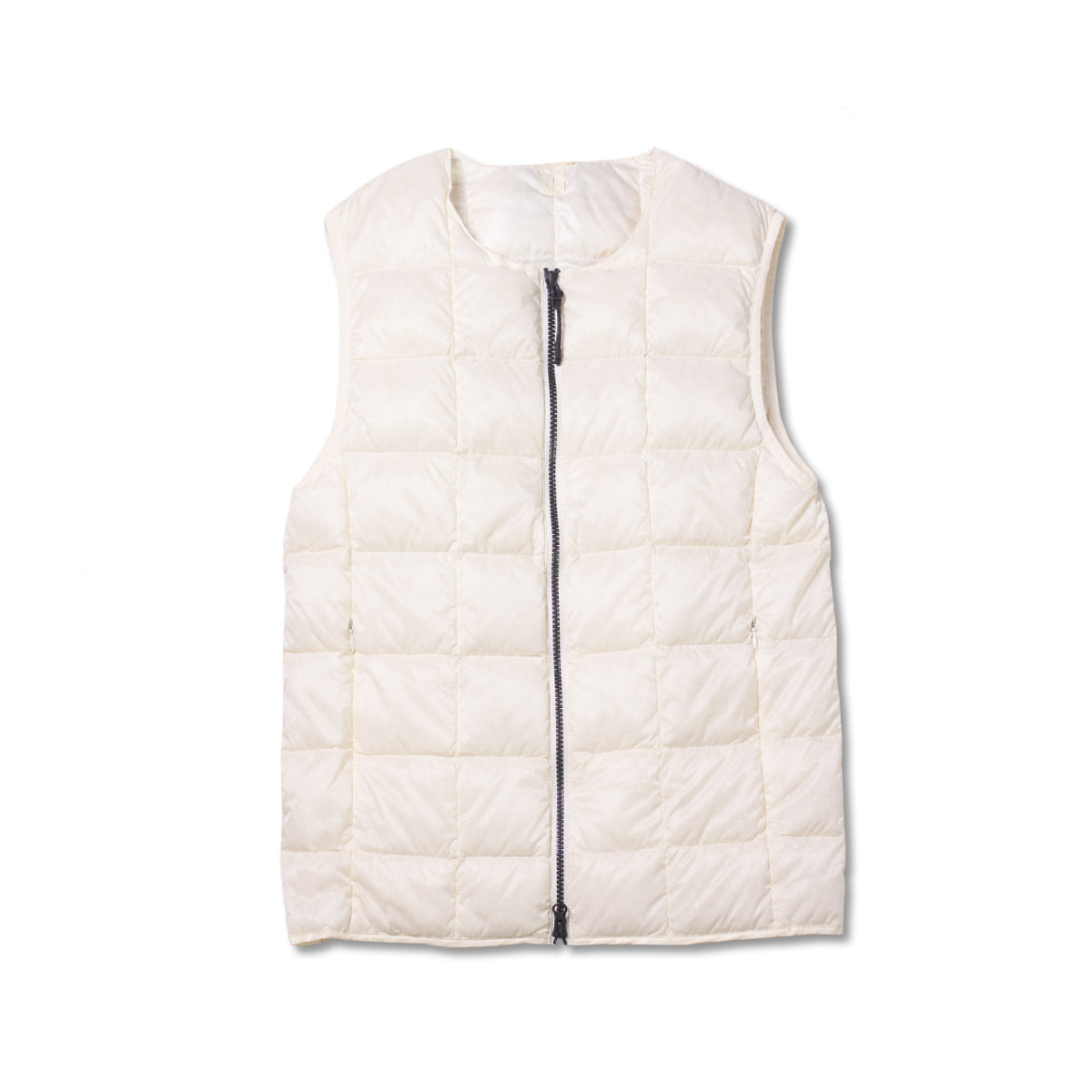 [TAION]  CREW NECK W ZIP DOWN VEST (TAI0N-005) 'WHITE'