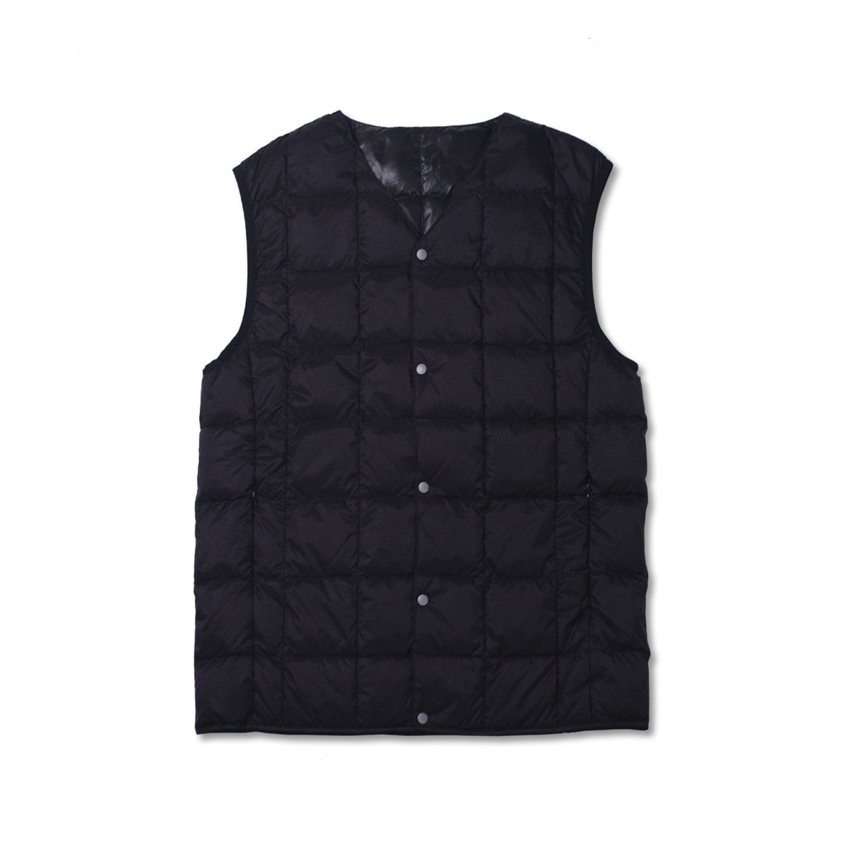 [TAION]  V NECK BUTTON DOWN VEST (TAION-001) 'BLACK'