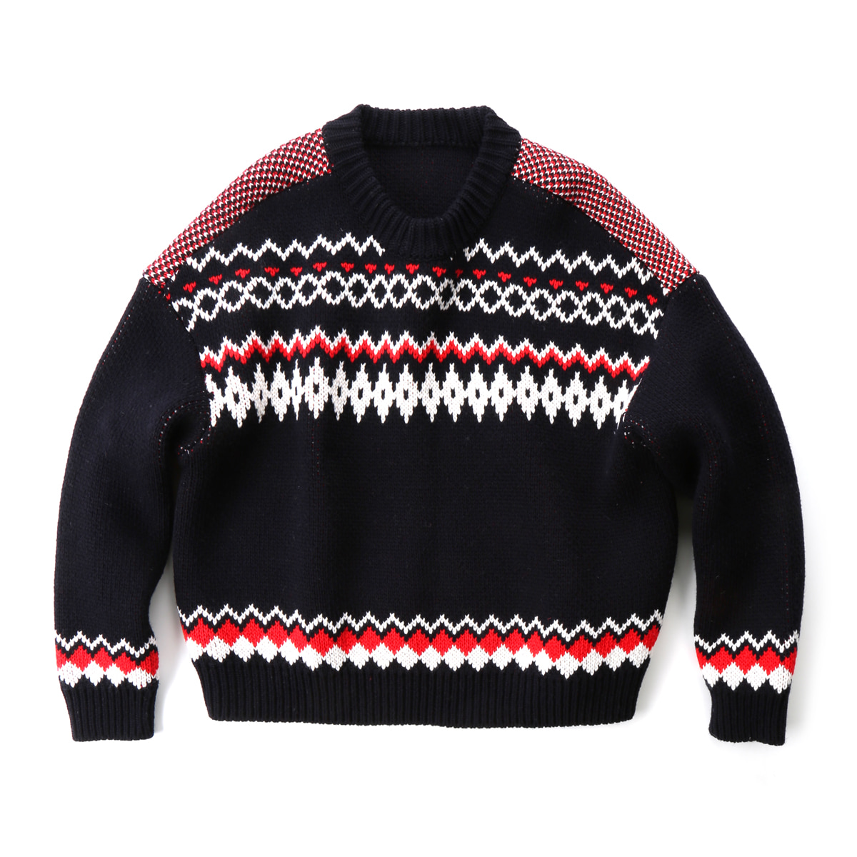 [MUSED] NILLA FAIRISLE PULLOVER KNIT 'NAVY/RED'