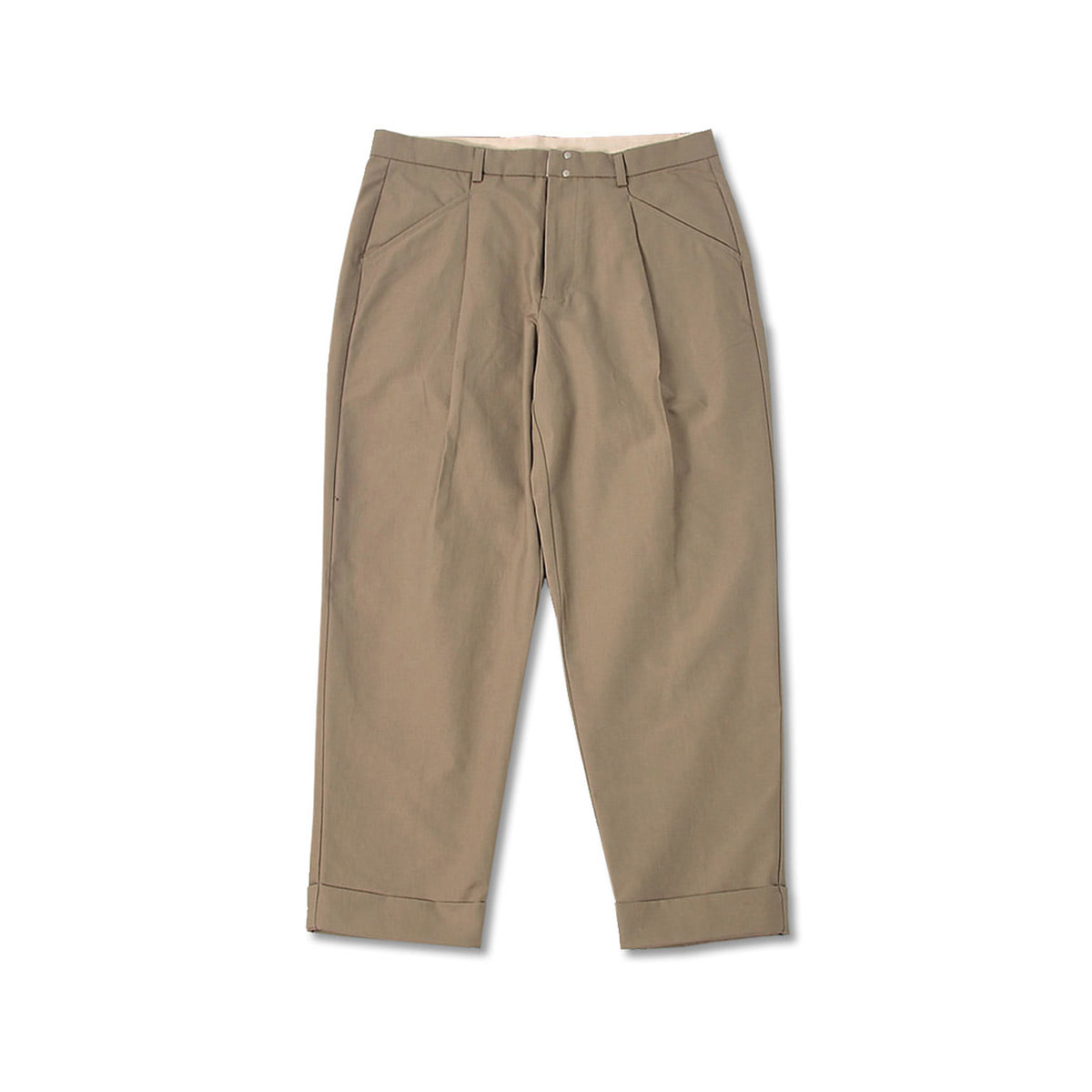 [BEHEAVYER] STANDARD TUCK PANTS 'GREY BEIGE'