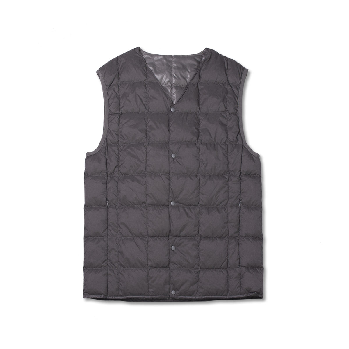 [TAION]  V NECK BUTTON DOWN VEST (TAION-001) 'GREY'