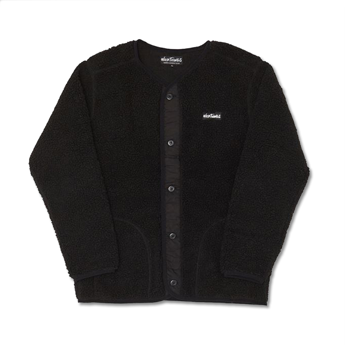 [WILD THINGS] FLUFFY BOA NO COLLAR JACKET 'BLACK'