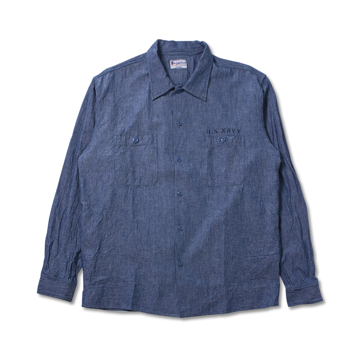 [BUZZ RICKSON'S] MILITARY WORK STENCIL SHIRT 'BLUE'
