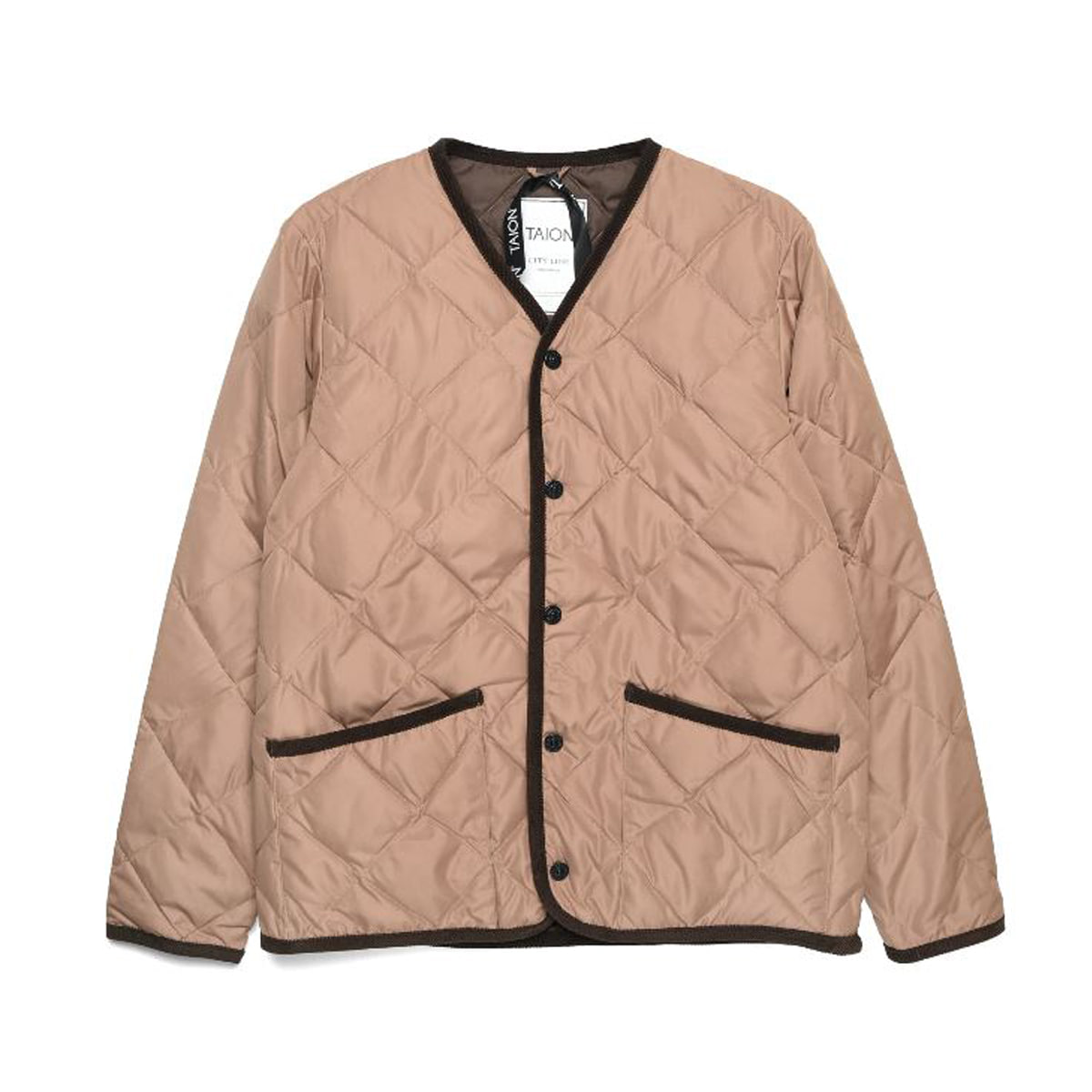 [TAION] PIPING V NECK DOWN CARDIGAN (TAION-101CI) 'BEIGE'