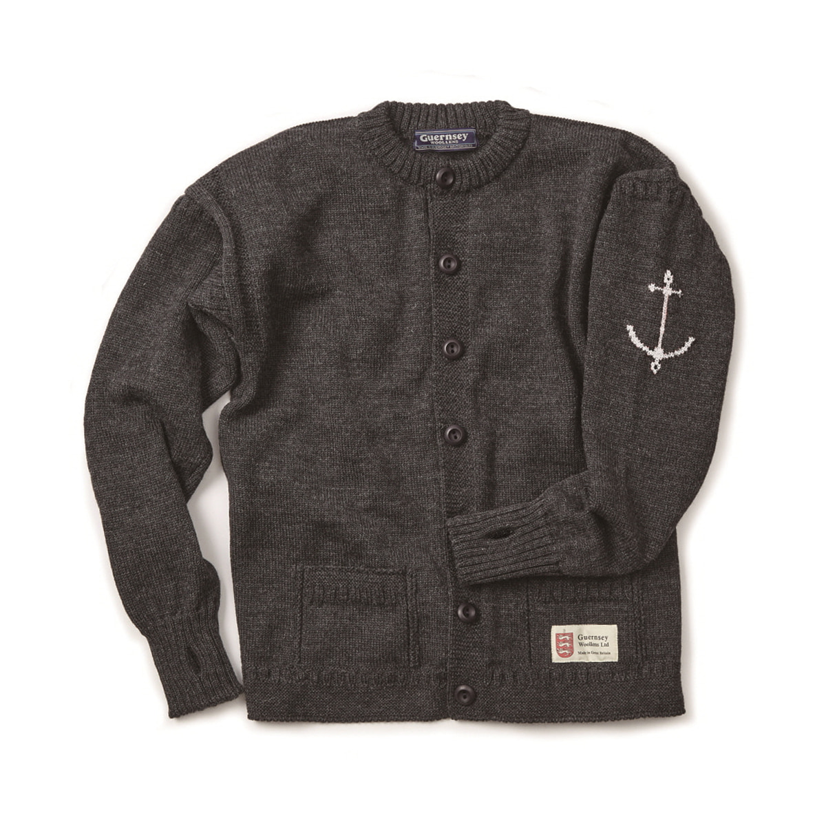 [GUERNSEY WOOLLENS] GUERNSEY FISHERMAN CARDIGAN 'CHARCOAL'