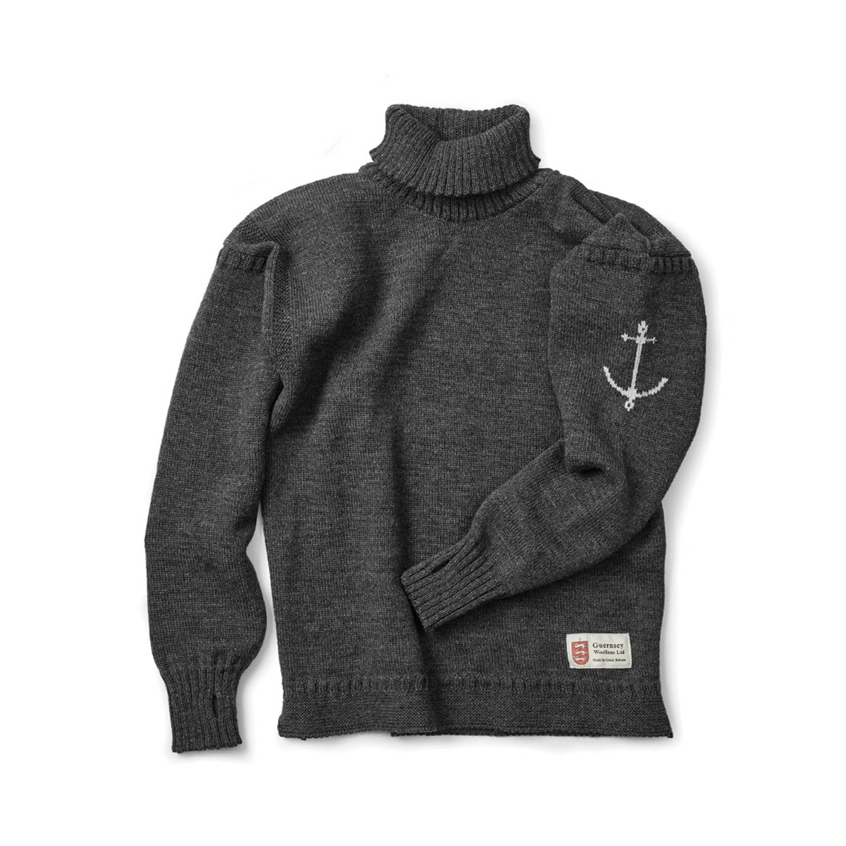 [GUERNSEY WOOLLENS] GUERNSEY FISHERMAN TURTLENECK SWEAT 'CHARCOAL'