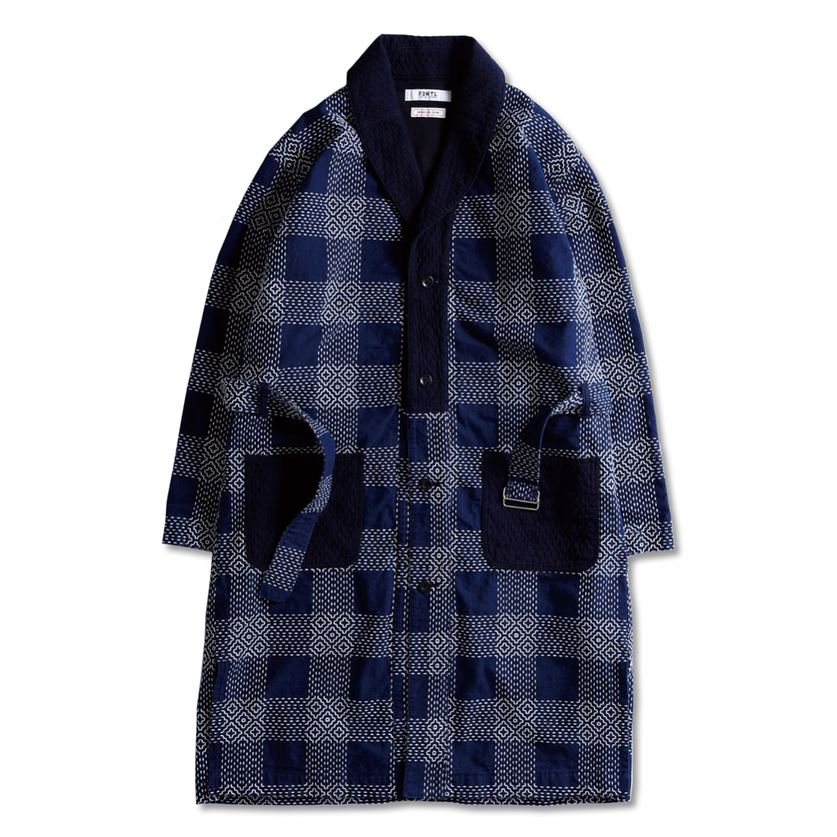 [FDMTL] SASHIKO SHAWL COLLAR COAT 'INDIGO WHITE'