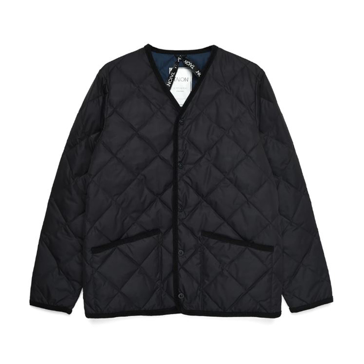 [TAION] PIPING V NECK DOWN CARDIGAN (TAION-101CI) 'BLACK'