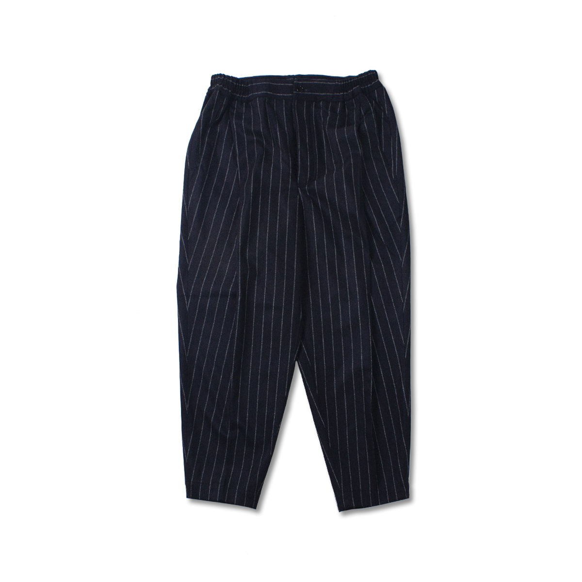 [HAVERSACK] SIDE ELASTIC PLEATED PANTS 'BLACK/STRIPE'