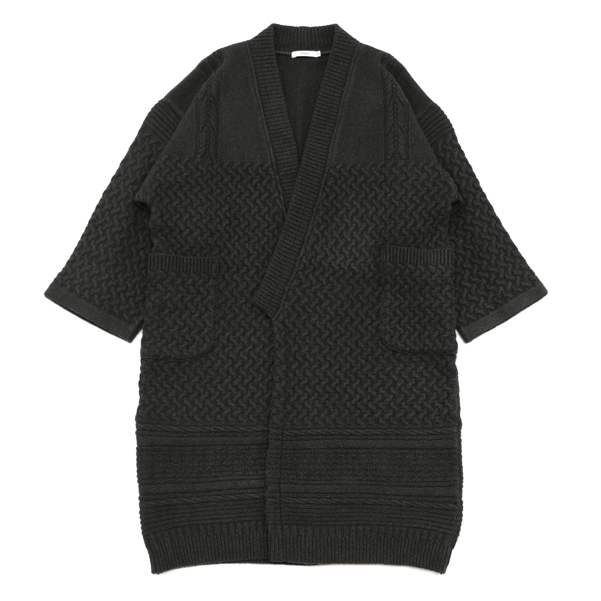 [YASHIKI] TSUKIMI KNIT COAT 'BLACK'