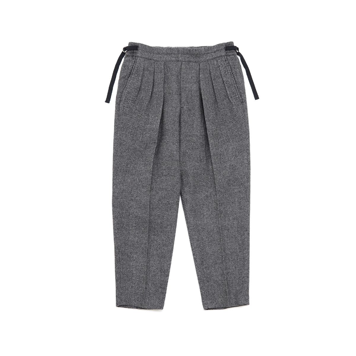 [SAYATOMO] HAKAMA HERRINGBONE PANTS 'GREY'