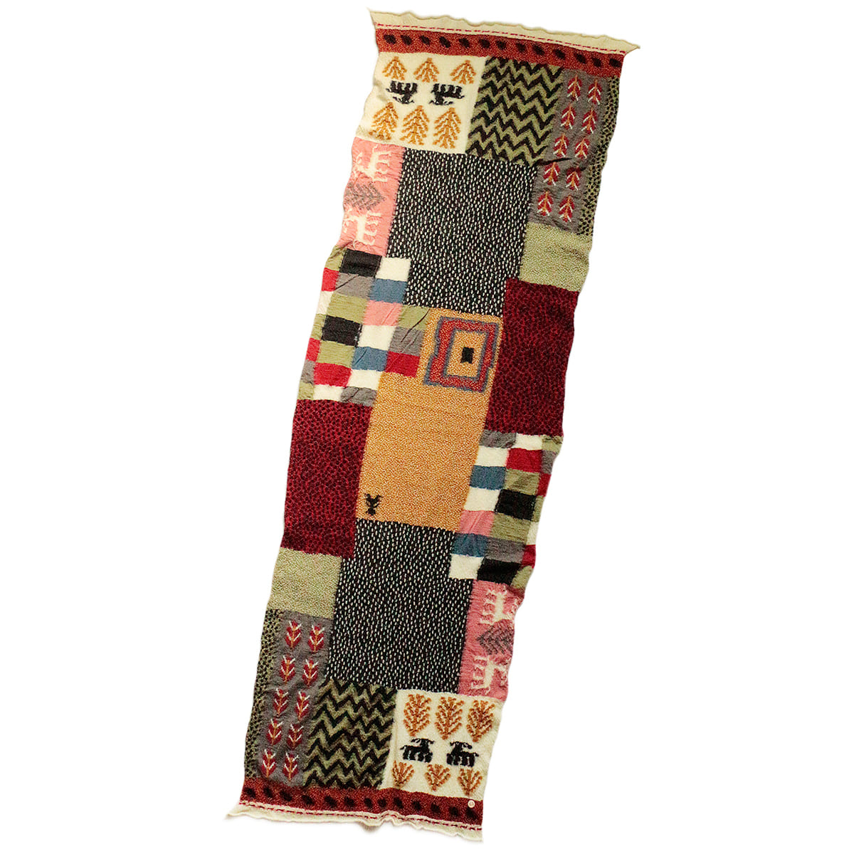 [KAPITAL] COMPRESSED WOOL SCARF VILLAGE GABBEH 'RED'