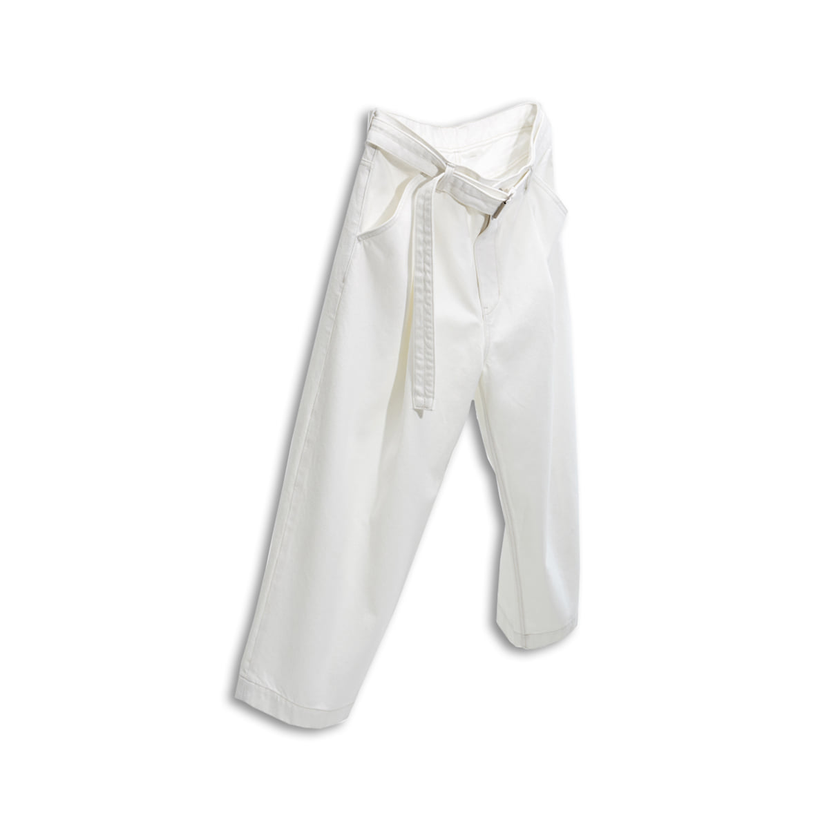 [YOUTH] BELTED DENIM PANTS 'WHITE'