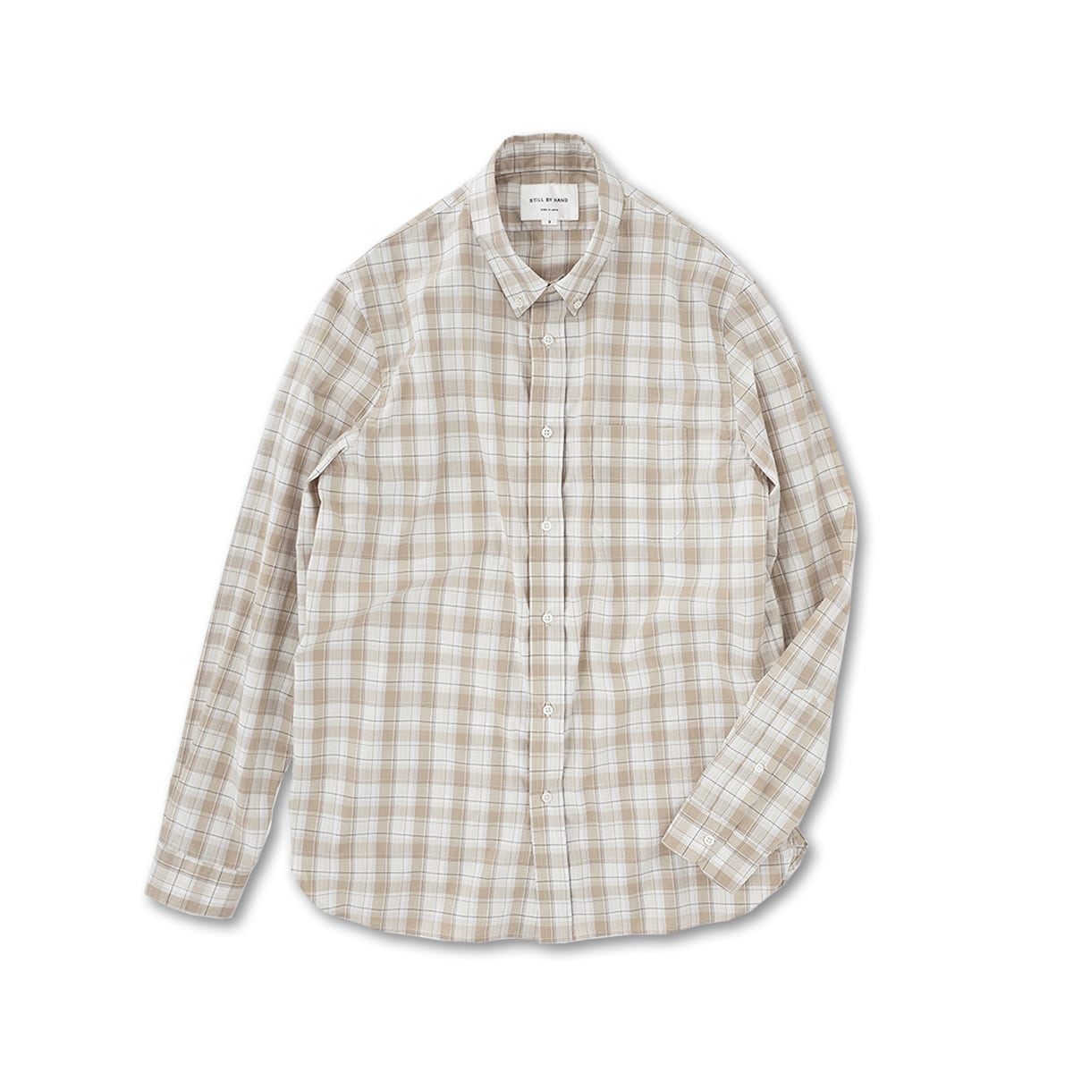 [STILL BY HAND] SH00201OS - SLIMFIT BUTTON DOWN 'BEIGE CHECK'