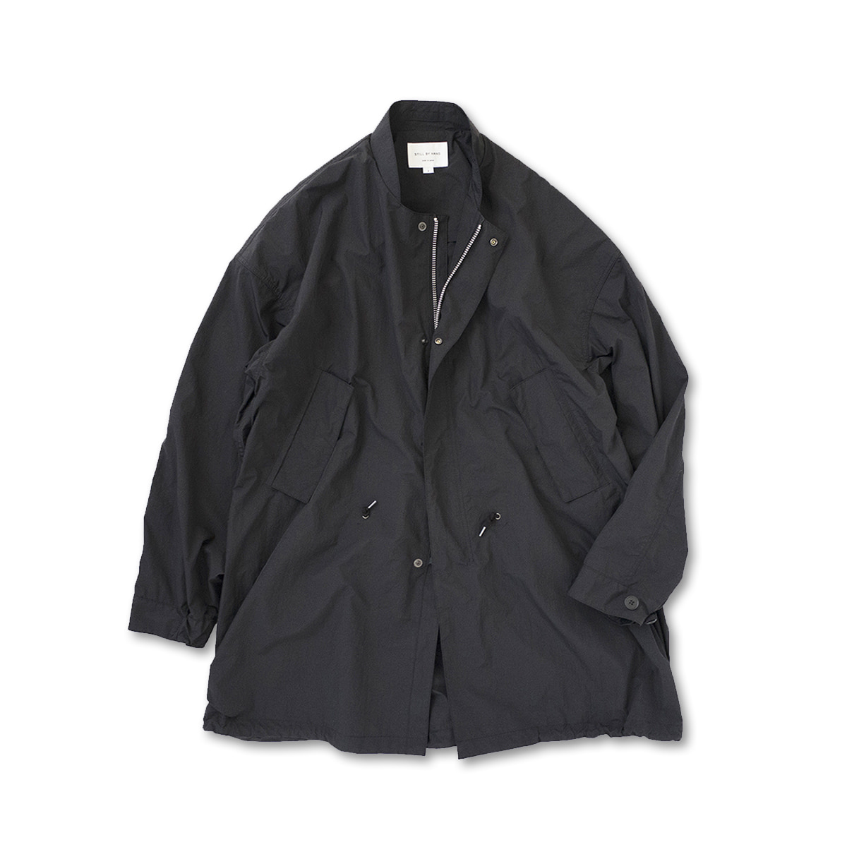[STILL BY HAND] CO03201OS - CRISP NYLON COAT 'BLACK'
