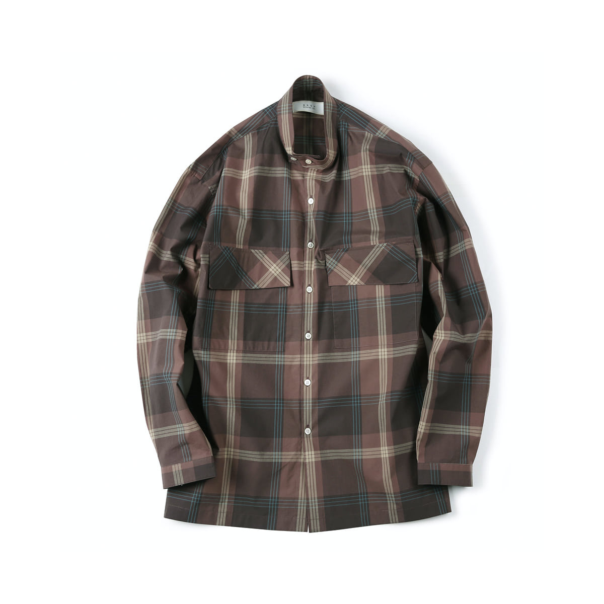 [SHIRTER] CHECK BAND COLLAR SHIRT 'BROWN'