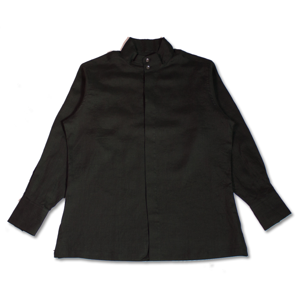 [HAVERSACK]  LINEN POPLIN COLLAR SHIRT 'BLACK'