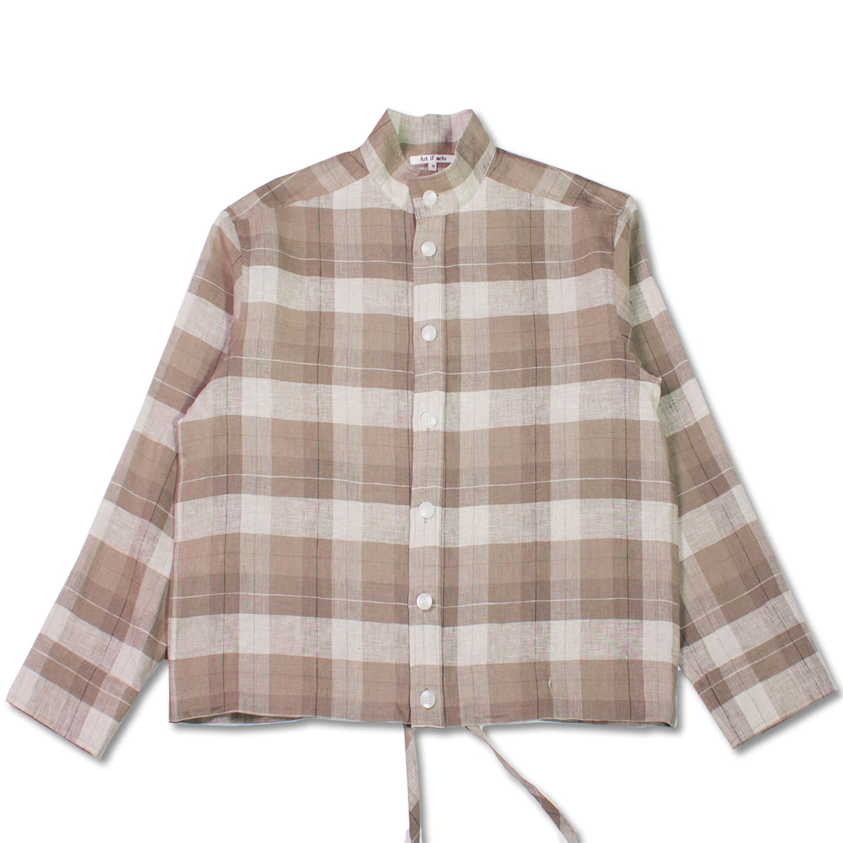 [ART IF ACTS] STAND COLLAR SHIRTS 'CHECK BROWN'