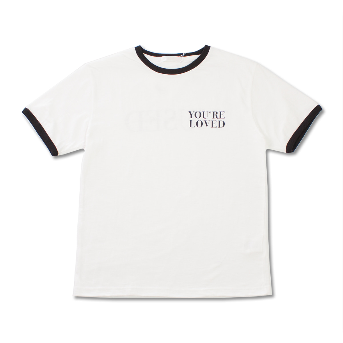 [MUSED] LOVED T-SHIRT 'WH+BLACK RIB'
