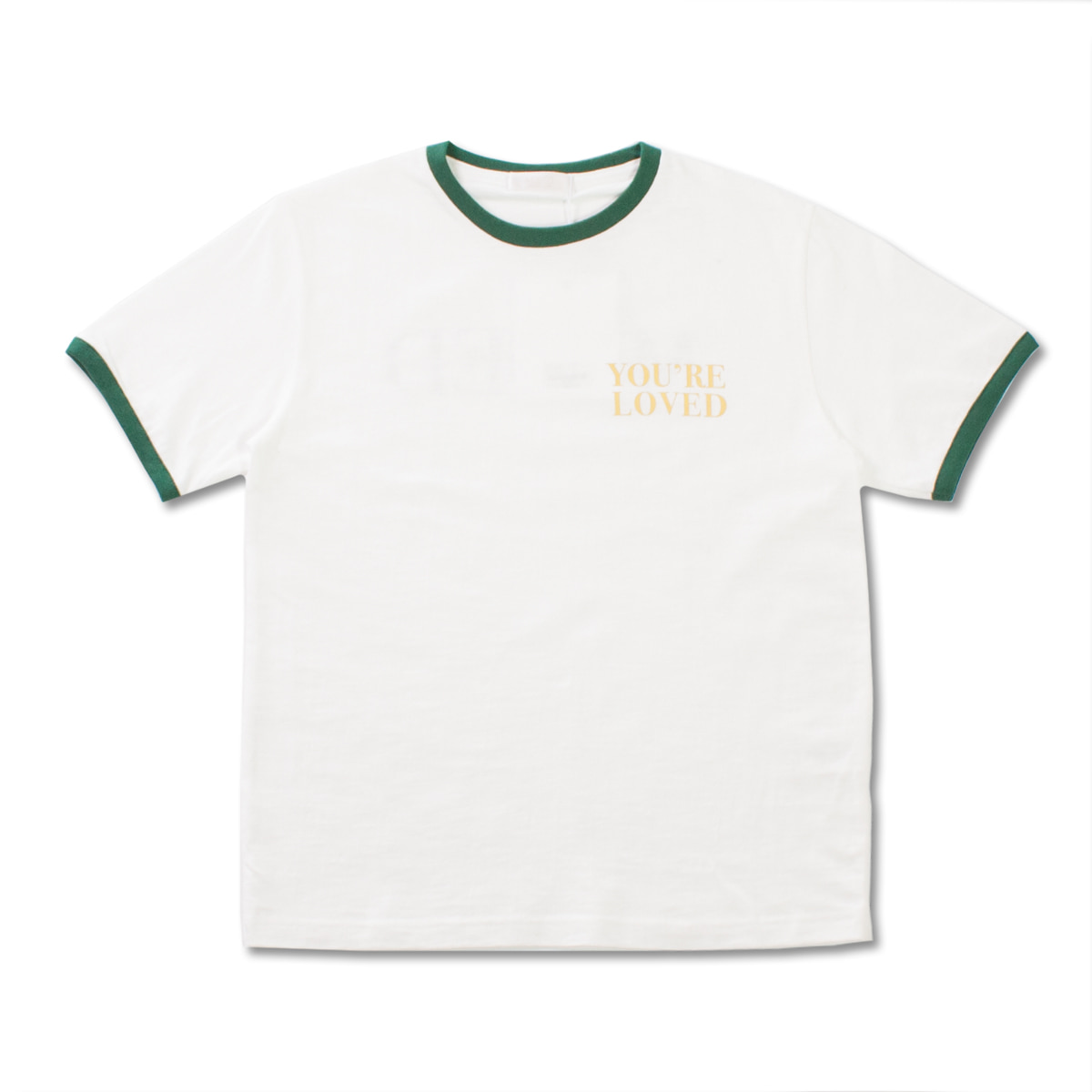 [MUSED] LOVED T-SHIRT 'WH+GREEN RIB'