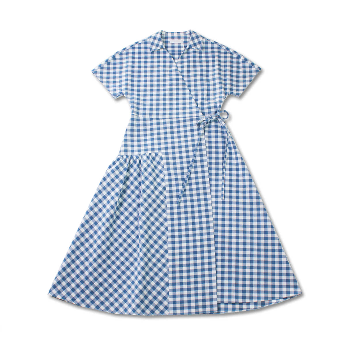 [MUSED] JOIE WRAP DRESS 'INDIGO DYED GINGHAM CHECK'