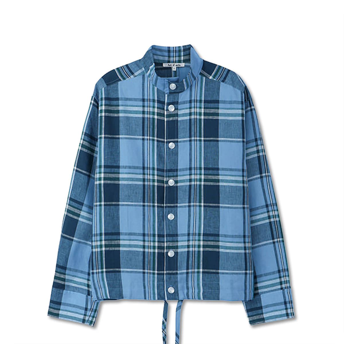 [ART IF ACTS] STAND COLLAR SHIRTS 'CHECK BLUE'