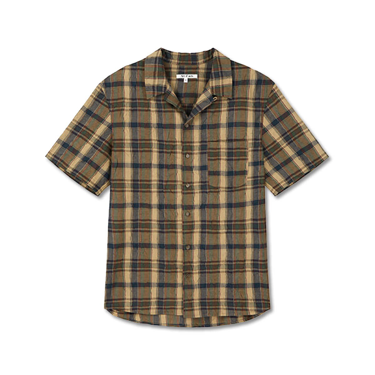 [ART IF ACTS] CLIP PLEATS HALF SHIRTS 'BROWN'