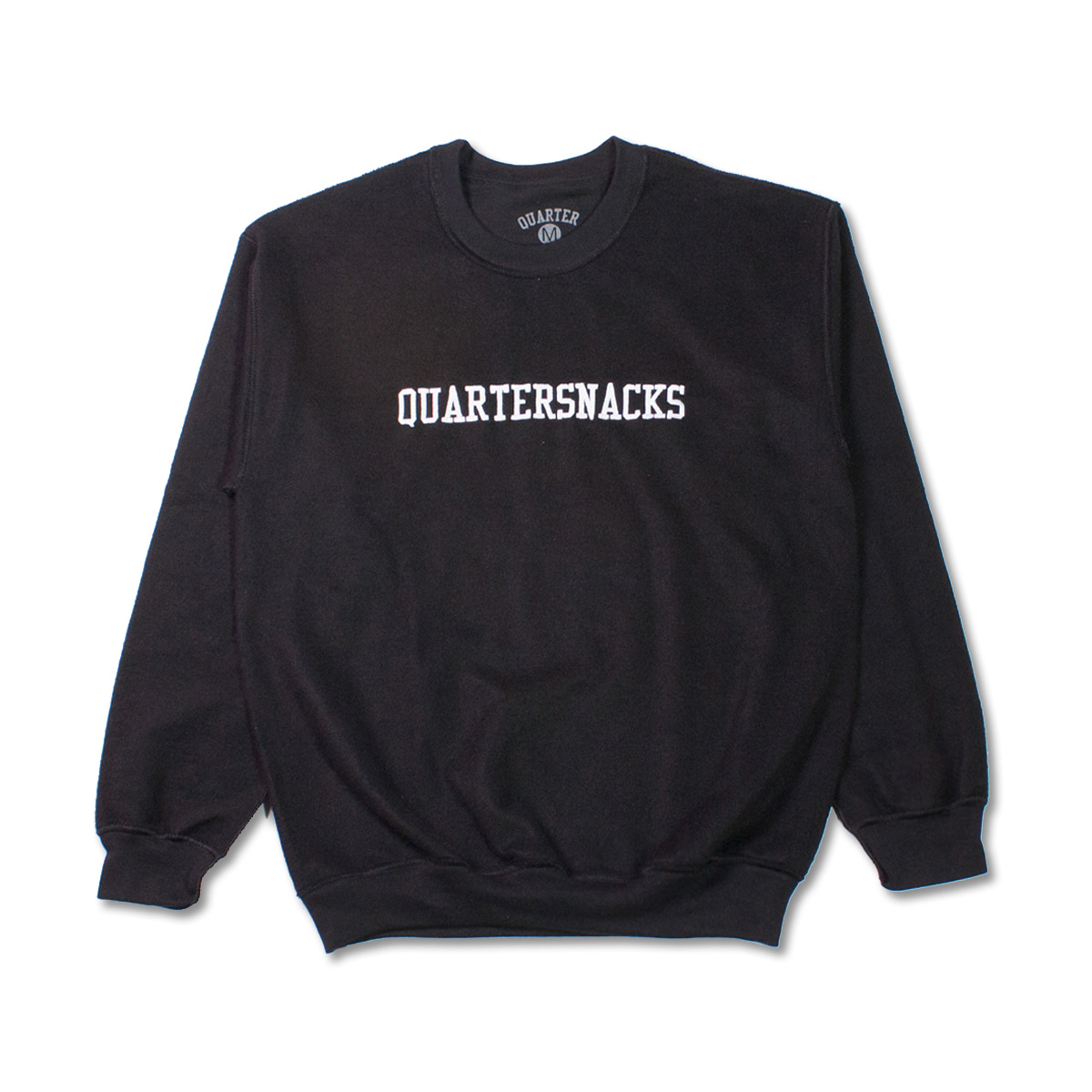 [QUARTERSNACKS] INSIDE OUT EMBROIDERED CREW 'BLACK'