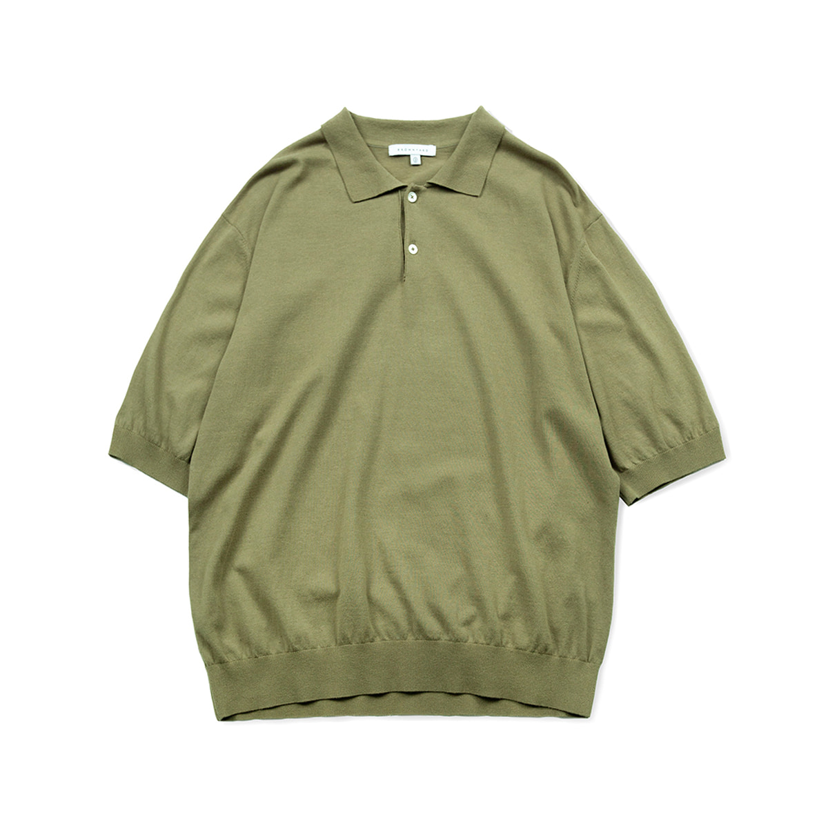 [BROWNYARD] KNIT POLO SHIRTS 'OLIVE'