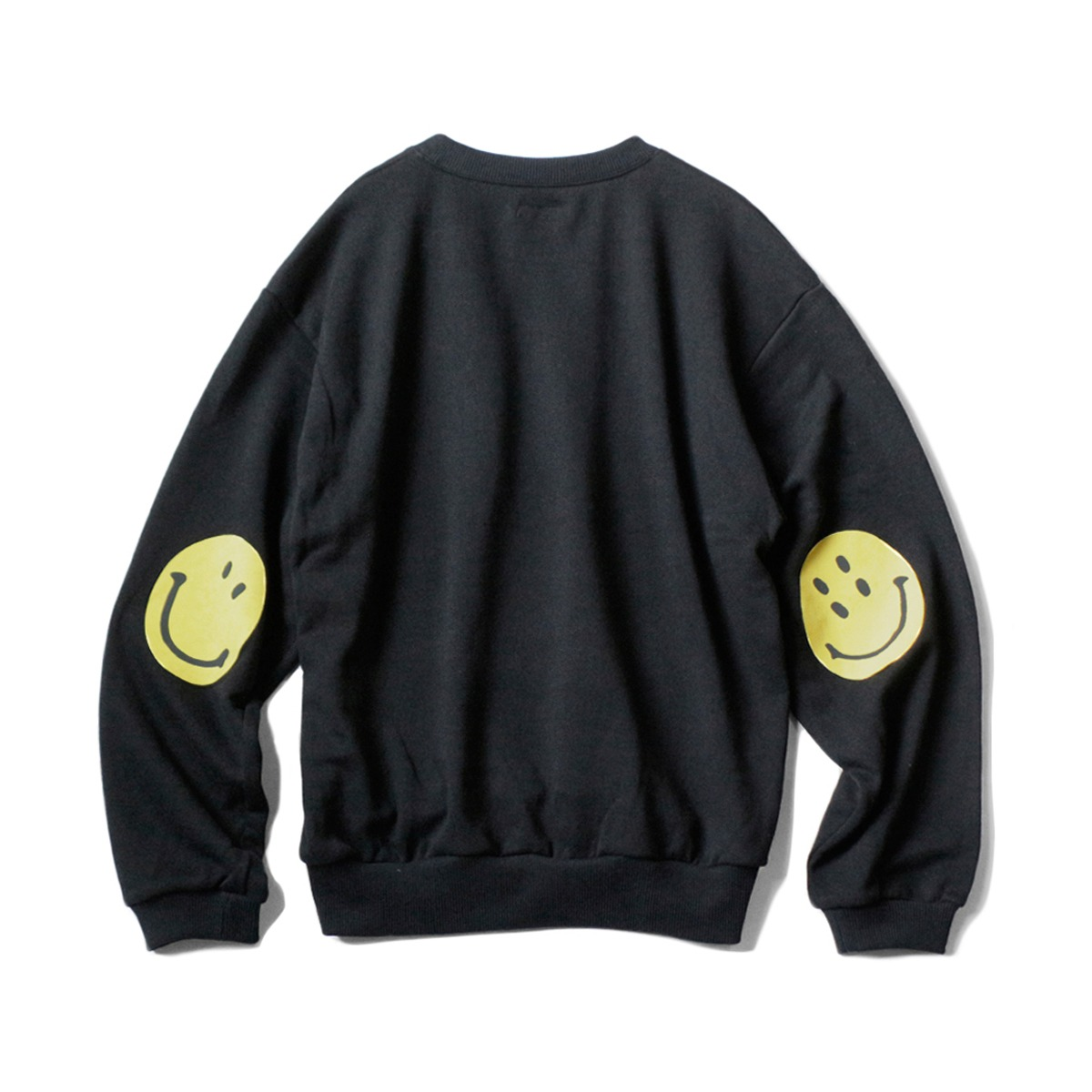 [KAPITAL] ECO FLEECE KNIT CREW SWT (SMILIE PATCH) 'BLACK'
