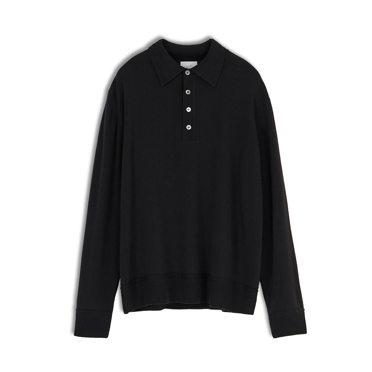 [YOUTH] KNIT COLLAR T-SHIRT 'BLACK'