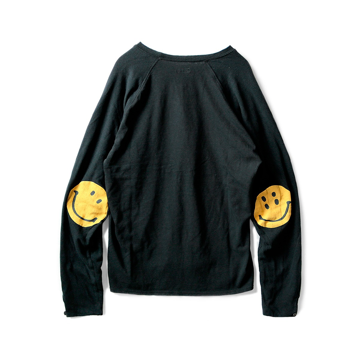 [KAPITAL] JERSEY x GAUZE JERSEY CHEF SLEEVE LONG SLEEVE T (SMILIE PATCH) 'BLACK'