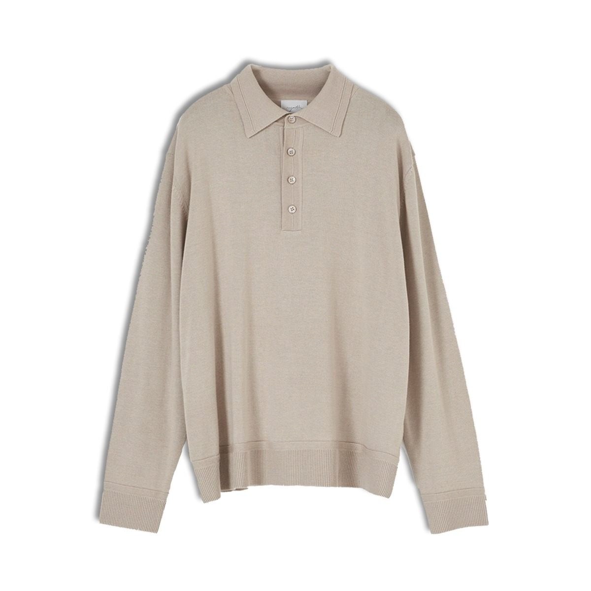 [YOUTH] KNIT COLLAR T-SHIRT 'BEIGE'