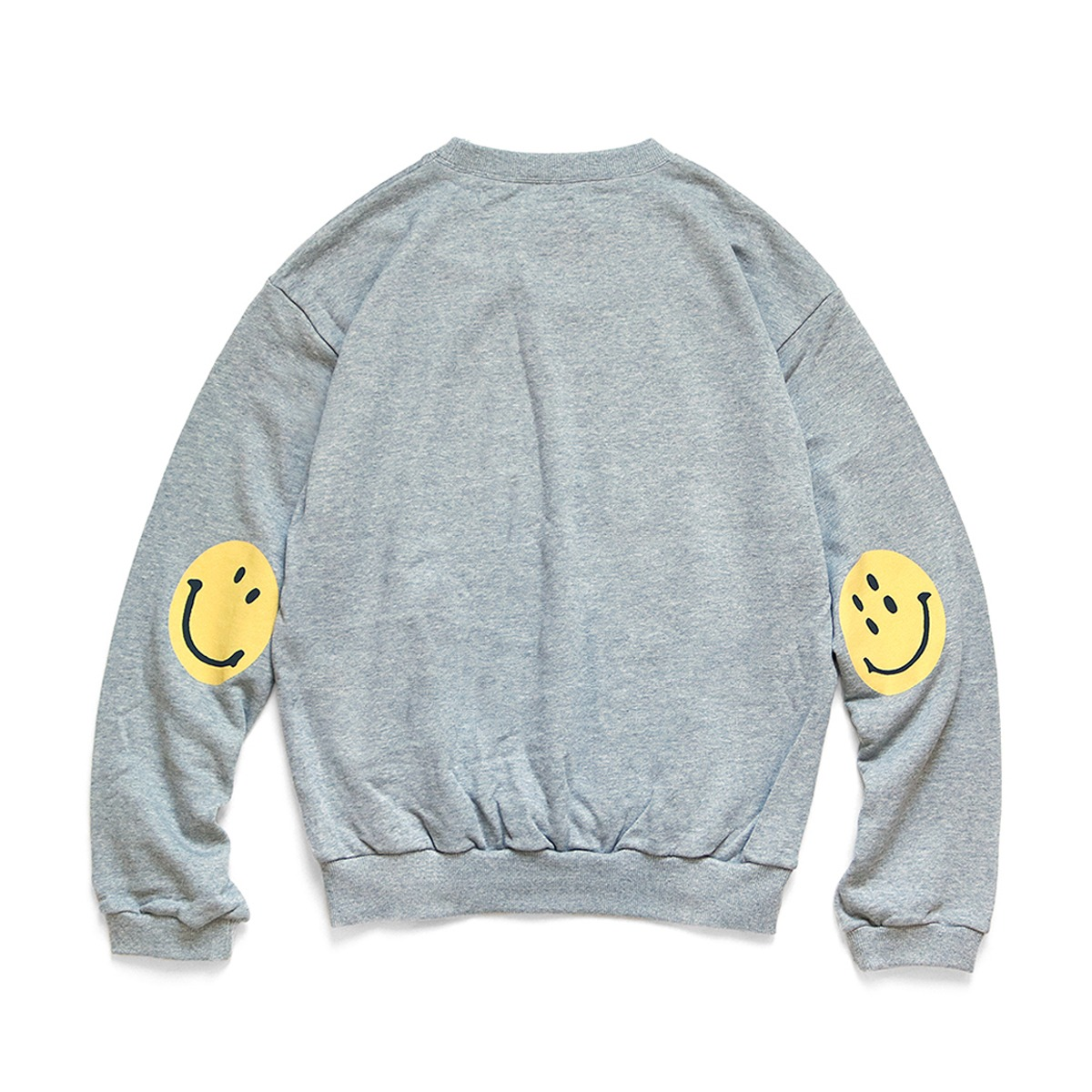 [KAPITAL] ECO FLEECE KNIT CREW SWT (SMILIE PATCH) 'GREY'