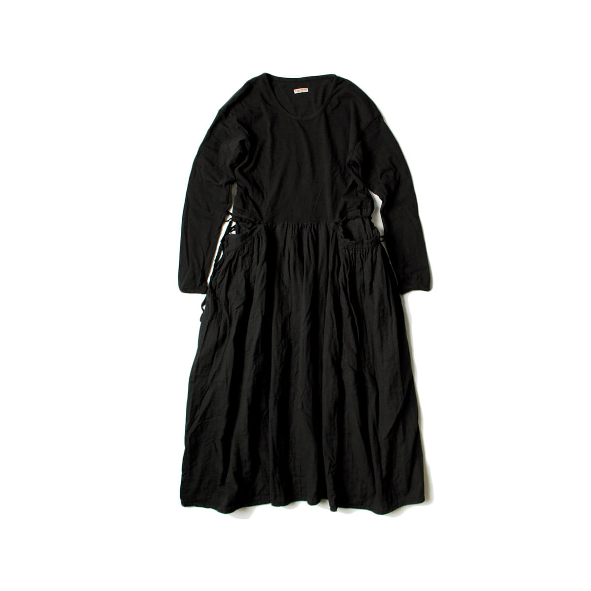 [KAPITAL] JERSEY x DOBLE GAUZE BUTTER DRESS 'BLACK'