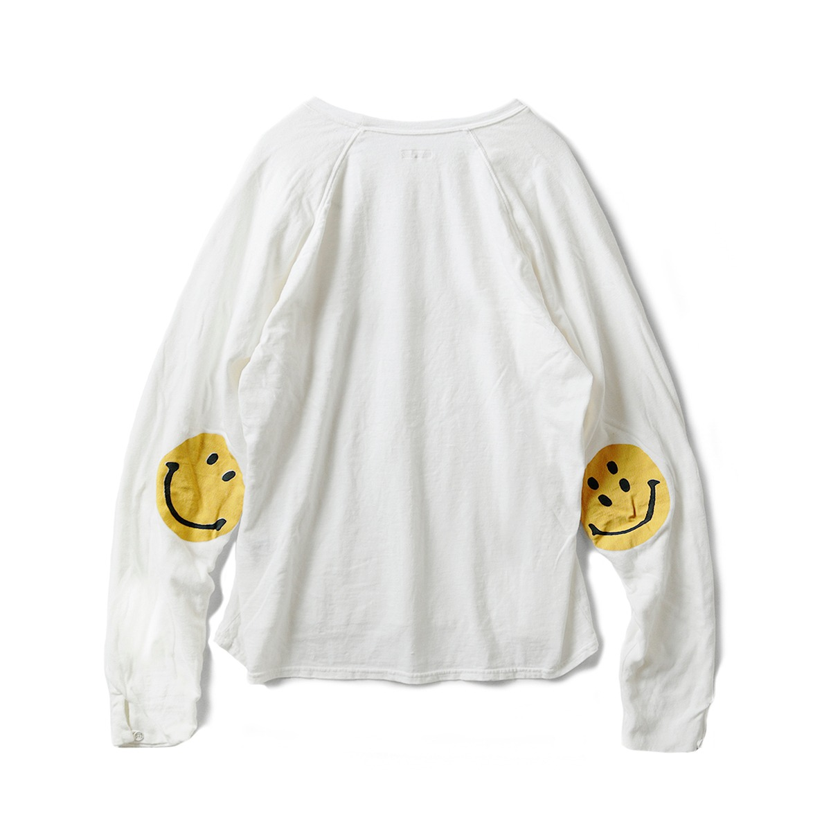 [KAPITAL] JERSEY x GAUZE JERSEY CHEF SLEEVE LONG SLEEVE T (SMILIE PATCH) 'WHITE'