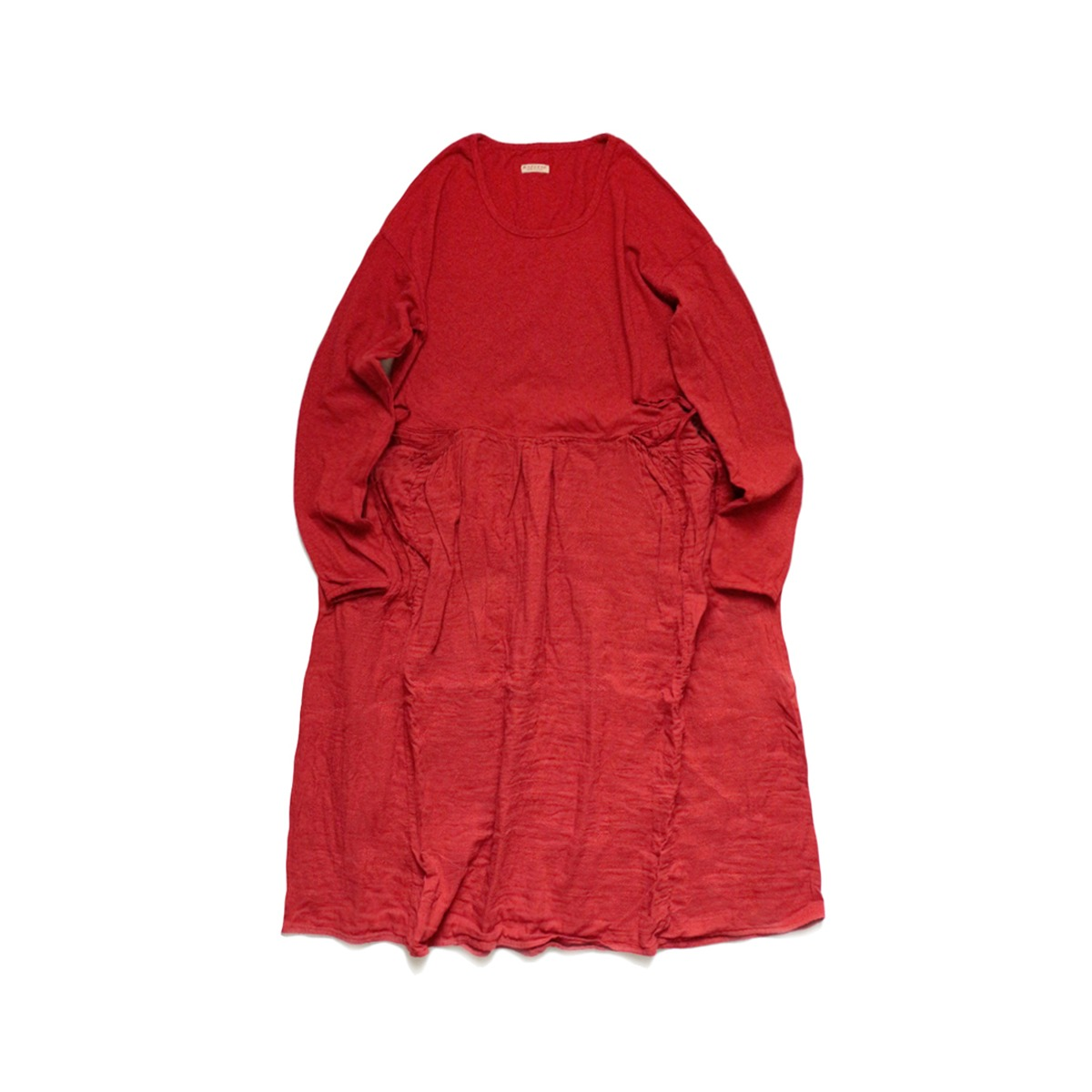 [KAPITAL] JERSEY x DOBLE GAUZE BUTTER DRESS 'RED'