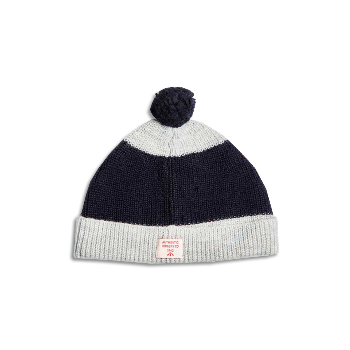 [NIGEL CABOURN] STRIPED POM POM BEANIE 'NAVY & GREY'