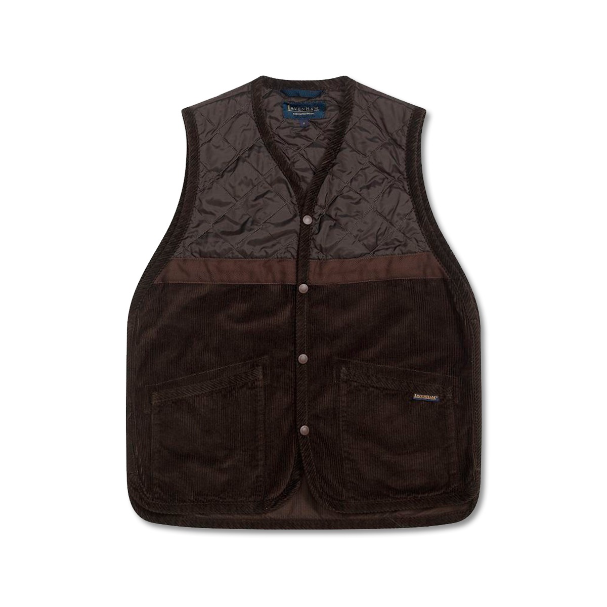 [LAVENHAM] WASHED CORD TAPED GILET 'BROWN'