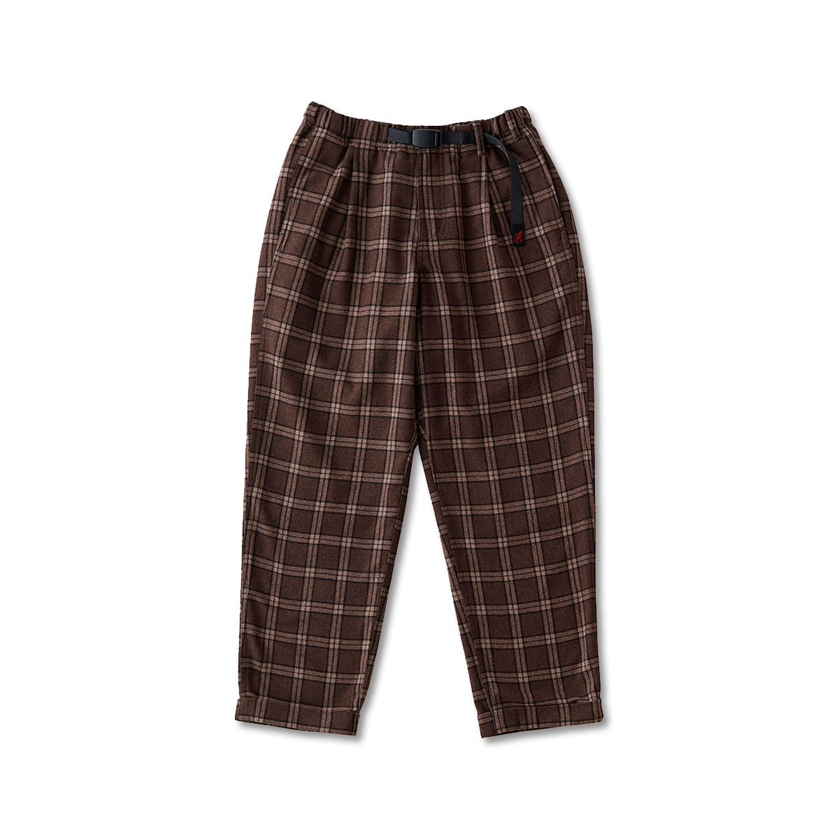 [GRAMICCI] WOOL BLEND TUCK TAPERED PANTS 'BROWN CHECK'