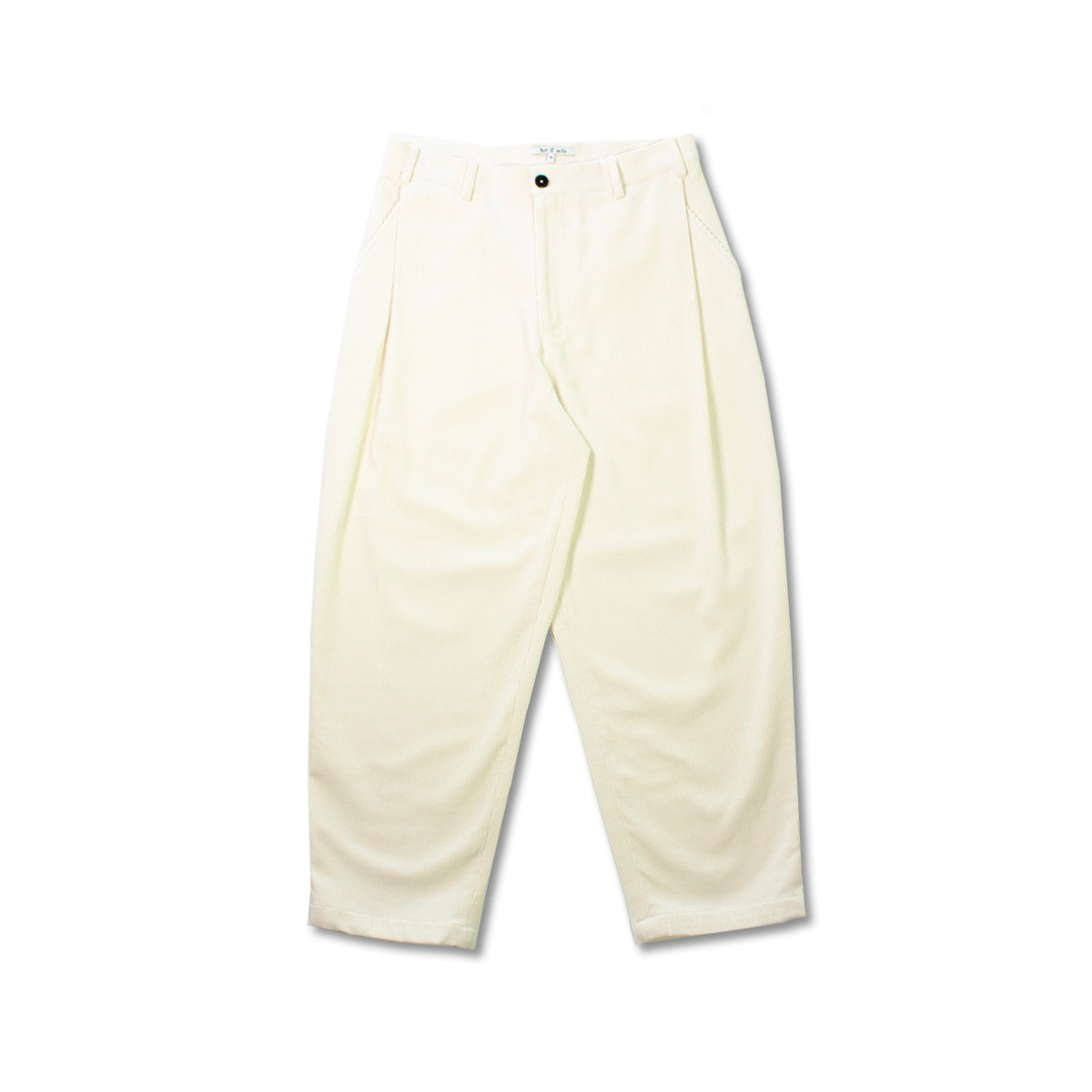 [ART IF ACTS] CORDUROY SIDE TUCKED PANTS 'CREAM'